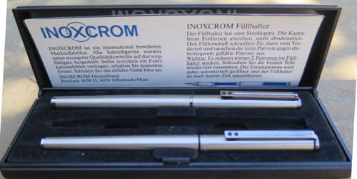 INOXCROM STAINLESS FOUNTAIN PEN AND ROLLERBALL SET IN BOX